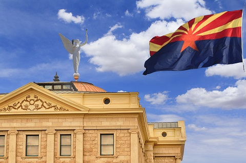 Arizona flag and state capitol